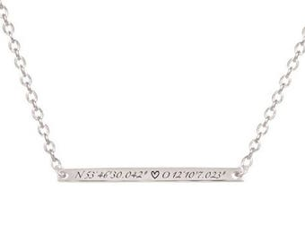 925 silver bars desired engraving best friends necklace