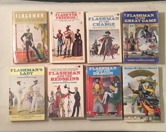 LOT of EIGHT Flashman Series Books - George MacDonald Fraser Books - Hilarious History