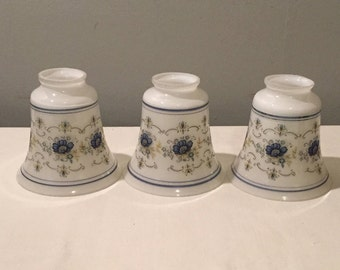 Vintage Glass Lamp Shades - SET OF THREE Small Vintage White and Blue Lamp Shades