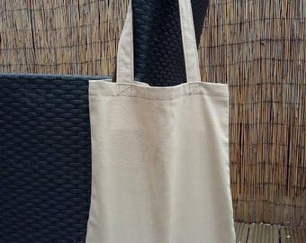 Beige / Brown Cotton Canvas Tote Bag