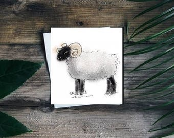 Sheep card // sheep gifts // sheep art // sheep birthday card // sheep greetings card // ram card // sheep art // sheep painting