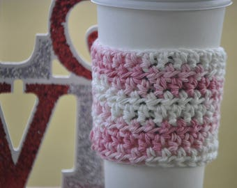 Coffee Sleeve - Crochet Coffee Cozy - Eco Friendly Gifts - Reusable Coffee Sleeve - Iced Coffee Cozy - To Go Cup Cozy - Valentines Day Gifts
