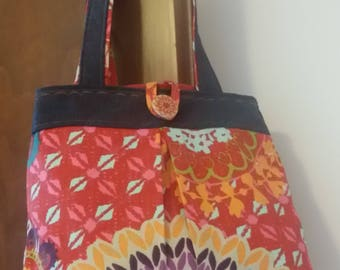 Denim and multicolor jeans fabric shoulder bag