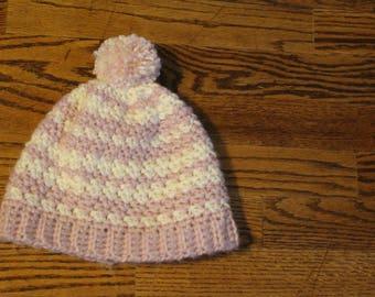 Winter Slouch Hat - pink, cream, beanie, textured, toddler, child, baby, adult, teen