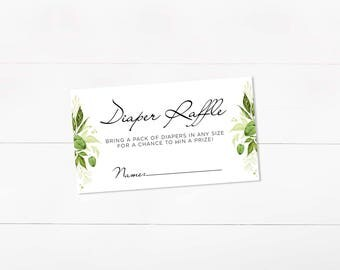 Diaper Raffle Printable, Baby Shower Raffle, Diaper Raffle Card, Bring a pack of diapers, Greenery