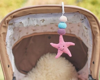 Starfish Mobile- Starfish Rattle- Personalized rattle- Hanging Mobile- Play Gym toy- Car seat Toy- Pram Toy