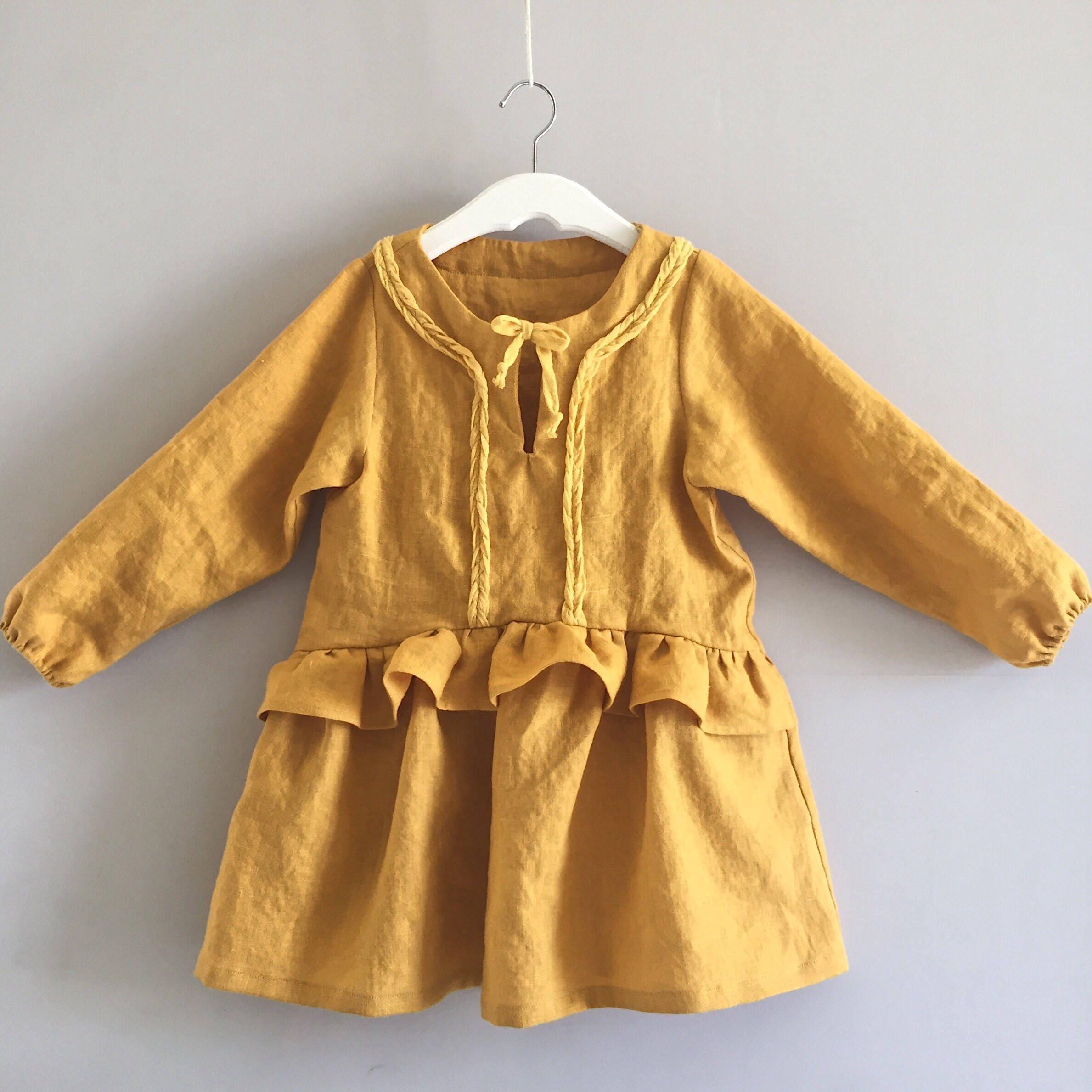 Long Sleeve Frill Dress Mustard Linen Dress Girls Gingham Dress