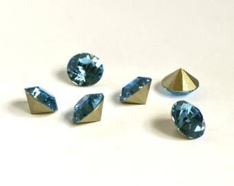 10mm Aquamarine Chaton, Swarovski Crystal Rhinestones, Xirius Round, SS45 Embellishment, Turquoise Rhinestones, 1088, Light Blue, Diy