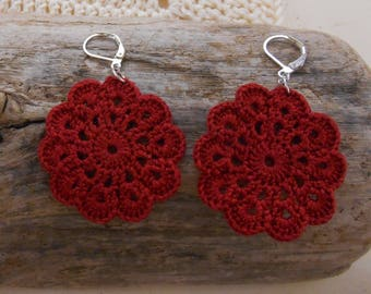 Crochet cotton flower Bohemian earring