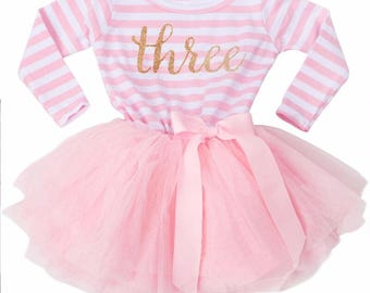 3rd Birthday Outfit / Pink & Gold / Third Birthday Outfit / Cake Smash Outfit / Tutu Dress / Princess Birthday Dress/ Baby / Girl / Toddler