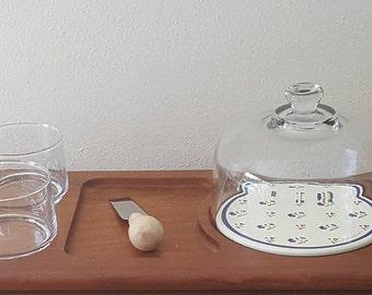 Vintage Glass Cloche Dome on Large Cheese Tray with 2 Glass Side Bowls and Cheese Knife~Winwood Teak Wood Tray made in Thailand.