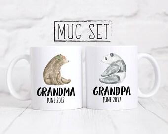 Grandma And Grandpa Mug, Grandparent Mug Set, Grandparent Present, Baby Announcement, Pregnancy Announcement, Pregnancy Gift, Mug Set