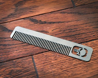 Titanium Comb from Calti, punisher, edc tool, tactical tool, edc, every day carry, hair comd, titanium edc, tactical edc, punisher custom