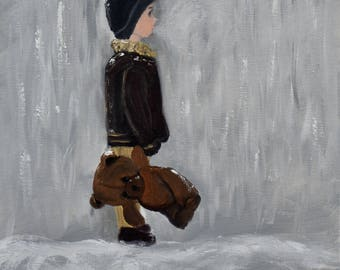 Boy in Winter, Study, Small Oil Painting