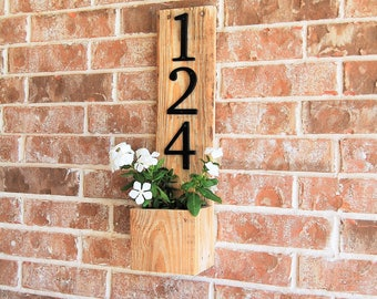 Address Sign Planter vertical- reclaimed wood, home address display, planter box, house sign, business address, house number, address plaque