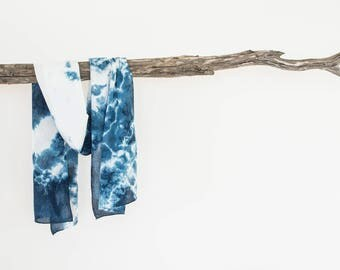 Fashion Scarf, Ladies Scarf, Shibori Scarf, Summer Scarf, Boho Scarf, Hand Dyed Scarf, Womens Scarves, Gifts for Her Birthday,