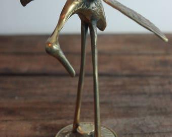 Vintage Brass Heron Figurine