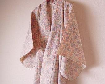 Vintage Japanese Kimono / Wool Kimono / White Color