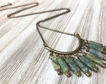 Jade Pendant Necklace // Long Necklace // Modern Jade Necklace // Unique Necklace // Fringe Necklace // Gift for Her // Green Stone Necklace