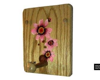 Oak Peg Coat Rack Pink Coreopsis Wall Coat Rack, Wood Shaker Peg Oak Rack Peg Mug Peg, Wooden Coat Peg, Tie Rack Peg, Oak Wood Shaker Peg