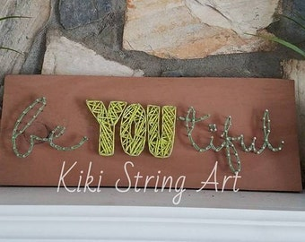 beautiful string art, beYOUtiful string art, be you tiful string art, beautiful sign, be you tiful sign, wall decor, christmas gift