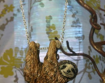 Adorable hanging sloth necklace, pendant, charm