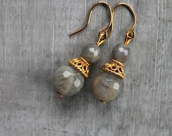 Labradorite vermeil earrings