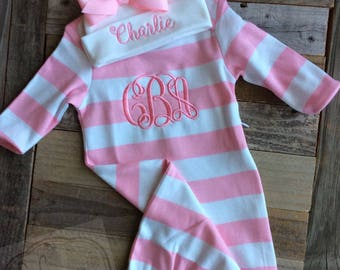 Monogram Baby Gown- Striped Baby Gown- Baby Girl Take Home Outfit
