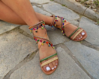 """Handmade leather sandals, Greek leather sandals, Boho sandals, Made to order, """"Anish""""sandals"""