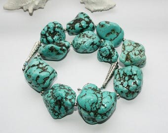 Necklace, neck jewellery, necklace, turquoise, nuggets, turquoise turquoise stones, length 45 cm, 17.5 inches/inches