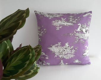 "Cushion cover ""Toile de Jouy, violet"""