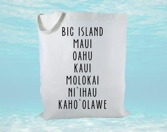Hawaiian Islands Name Canvas Tote Bag, Aloha Tote Bag, Hawaii Tote Bag, Hawaiian Island Tote Bag, Beach Bag, Hawaii Gift
