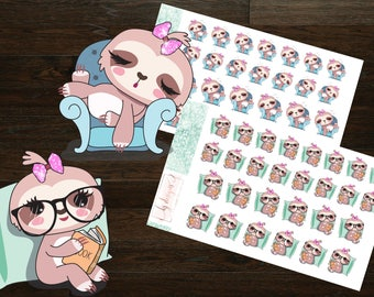 Sally the Sloth Doing Things (Sleeping, Reading) || Planner Stickers