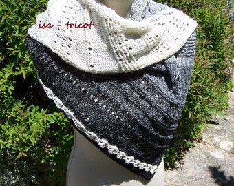 Hand knitted cotton summer shawl