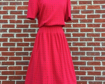 Red A-Line Dress with Pockets, Short Sleeves, Drop Waist, and Button Back - Vintage Long Red Dress with Pockets