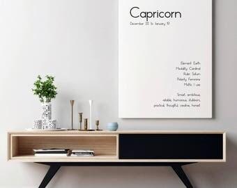 Gift Capricorn | BFF Gift | Zodiac Sign | Horoscope | Astrology | Wall Art | Birthday Gift | Sister Birthday Gift | Mom Birthday Gift