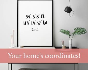 GPS Home Decor, gps Home Sign, GPS Home GPS Coordinates Home Print, gps Home Wall Decor,  Home Custom Coordinates Home Wall Decor
