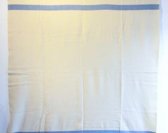 Vintage Kenwood Ramcrest  100% Wool Blanket - White with Blue Stripes