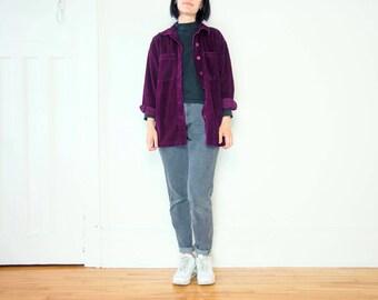 90s Bright Purple Corduroy Button-Up / Size S-M