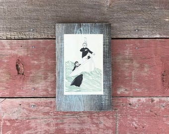 Peace by Piece Reclaimed Wood Children's Book Illustration Wall Art, Vintage Picture Frame