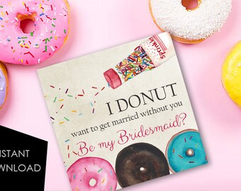 Donut Proposal Ask Bridesmaid Card Ask Maid of Honor Donut Proposal Card Proposal Bridesmaid funny Bridesmaid Ask Be My Maid of Honor MOH