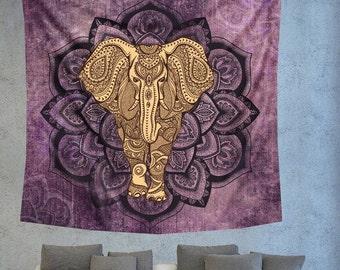 Purple Bohemian elephant Mandala wall tapestry, Unique wall decor, Wall hanging tapestry, boho chic wall decors