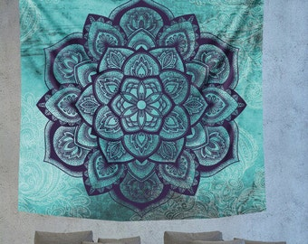 Turquoise Mandala wall hanging tapestry, hippie tapestry, boehmian tapestry, boho wall decor, psychedelic tapestry