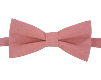 Pink Bow Tie for wedding linen bow tie for men Bow tie pink Pink boy's bow tie Men's pink bow tie Baby boy bow tie Boys pink bow tie.