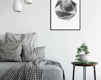 Black and White Abstract Watercolor Print BNW 3 Geometric Art Print Minimalist Art Scandinavian Posters Large Prints Digital Download