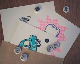 Surprise Pocket - Lucky bag: 3 screen printed + 2 badges at random!