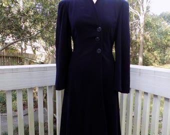 Vintage 40's 1940's WWII Navy Blue Rayon Gabardine Smocked and Pleated Sleeve Dress Coat