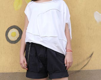 Baggy White Summer Top | Loose Fit Top | Asymmetric Top | Oversized Bio Cotton Top | Maxi Lagenlook Summer Top | Flattering Smock Blouse