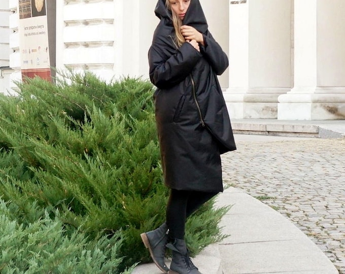 Asymmetrical Fall Winter Parka, Warm Waterproof Windproof Coat, Extravagant Oversized Hooded Parka, Black Plus Size Straped Hoodie