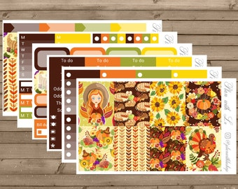 Thanksgiving Sticker Kit | Erin Condren Sticker Kit | Harvest Sticker Kit | Weekly Sticker Kit | 6 Pages Sticker Kit